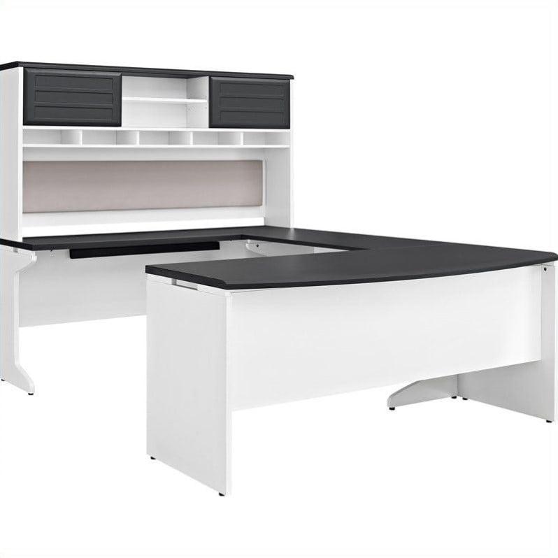Ameriwood Home Pursuit U Shaped Desk With Hutch Bundle
