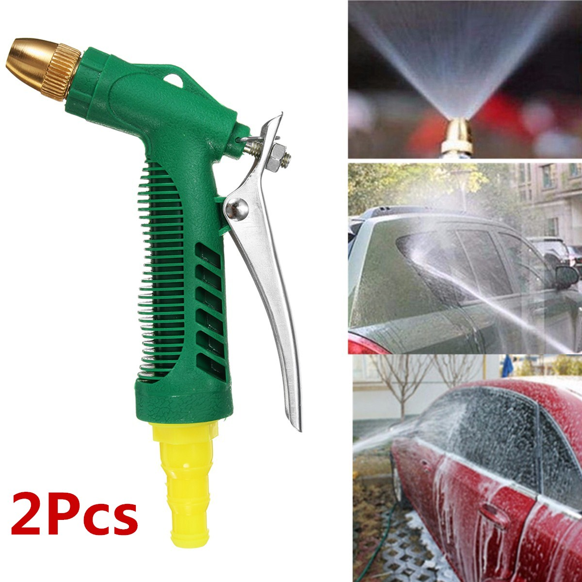 2 PCS ABS High Pressure Hose Nozzle Garden Auto Car Washing Water Gun Sprayer 3 Adjustable Watering Patterns Watering Plants, Cleaning, Showering Pets