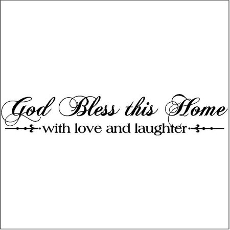 God Bless This Home with Love and Laughter Wall Saying Vinyl Lettering Home Decor Decal Stickers