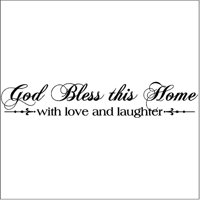 God Bless This Home with Love and Laughter Wall Saying Vinyl Lettering Home Decor Decal Stickers Quotes