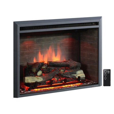 Puraflame Western 33 Inch Black Embedded Electric Firebox Fireplace Heater  With Remote Control