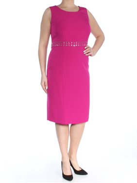 b6cdb5d1 Product Image KASPER Womens Pink Rhinestone Sleeveless Scoop Neck Below The  Knee Sheath Dress Plus Size: 14W