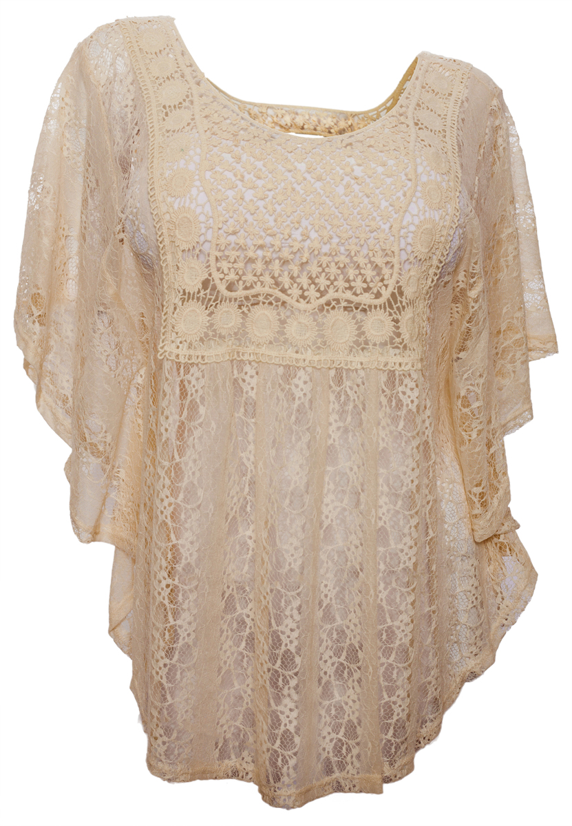 eVogues Plus Size Sheer Crochet Lace Poncho Top Ivory