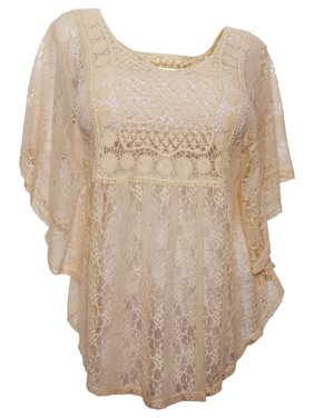 fa701dae401af Product Image eVogues Plus Size Sheer Crochet Lace Poncho Top Ivory. eVogues  Apparel