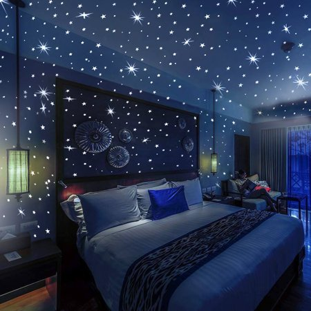 Bollepo Glow in The Dark Stars and Dots 332 3D Wall Stickers for Kids Bedroom and Room Ceiling Gift Beautiful Glowing Wall Decals Constellations Guide Wall Stickers Kids Room