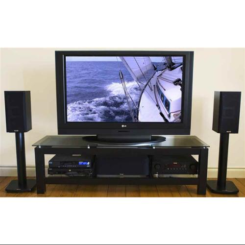 Sl Series 50 Inch Tv Stand With Black Glass Top And Shelf Walmart Com