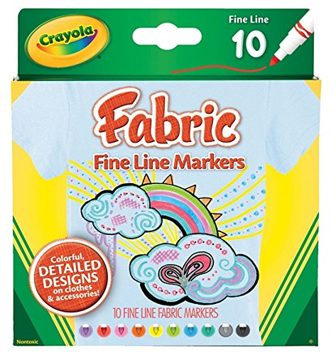 Crayola Fine Line Fabric Markers 10 Count (3 Pack)