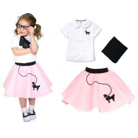 Toddler 3 pc - 50's Poodle Skirt Outfit - 2T / Light Pink