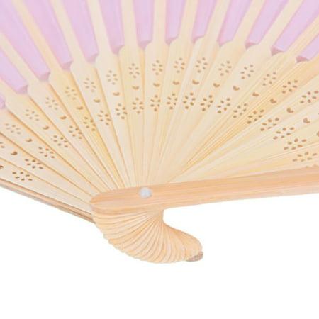 1 PCS Beige Bamboo Folding Fan Handheld Fans Paper Folded Fan for Wedding Party and Home Decoration - image 5 de 6