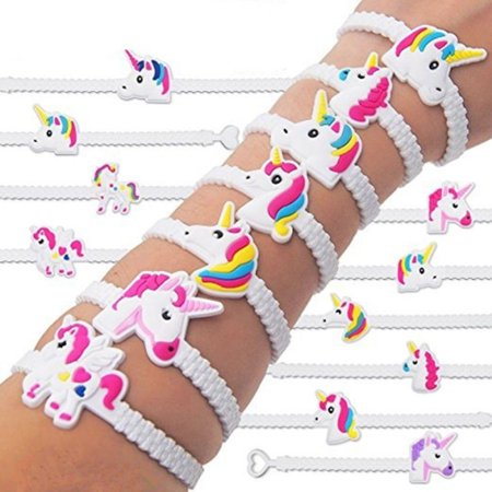10PCS Unicorn Wristband Silicone Bracelet Bangles Party Supplies Kids Toy Gift - Silicone Bracelets Bulk