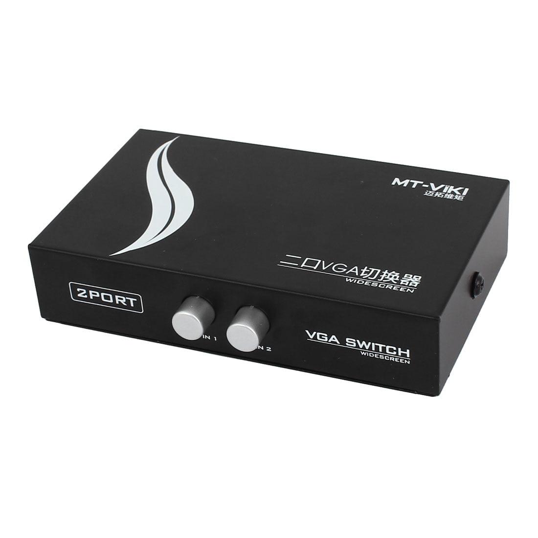 Black 2 Way 2 Port VGA SVGA LCD Monitor Switch 2 to 1 Selector Box
