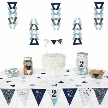 Two Much Fun - Boy - 2nd Birthday Party - Triangle Party Decoration Kit - 72 Pieces - Birthday Decoration For Boy