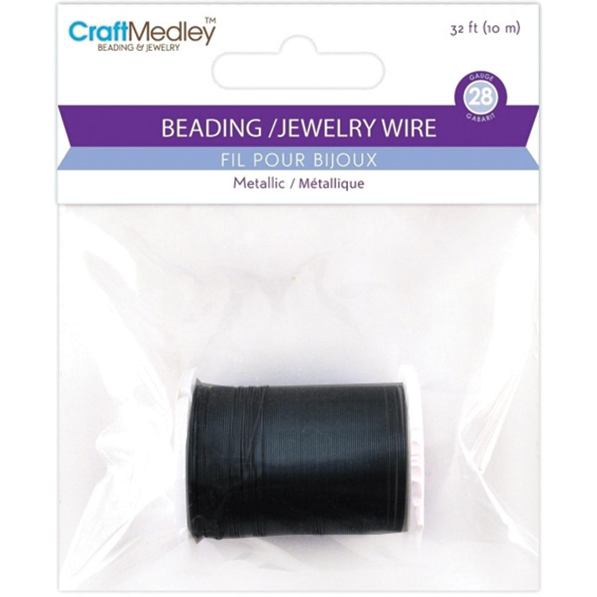 Metallic Beading & Jewelry Wire 28 Gauge 32'-Black