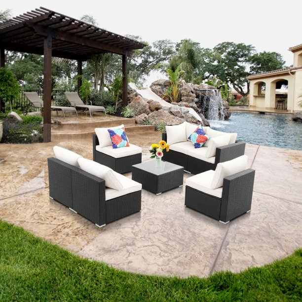 Ainfox 7 Pieces Outdoor Patio Furniture sets Steel Frame PE Rattan Wicker Sectional Conversation Sofa Sets White