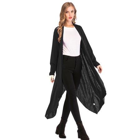 LELINTA Women's Casual Open Front Knit Cardigan Outwear Asymmetric Drape Lightweight Long Sleeve Coat Black/Purple