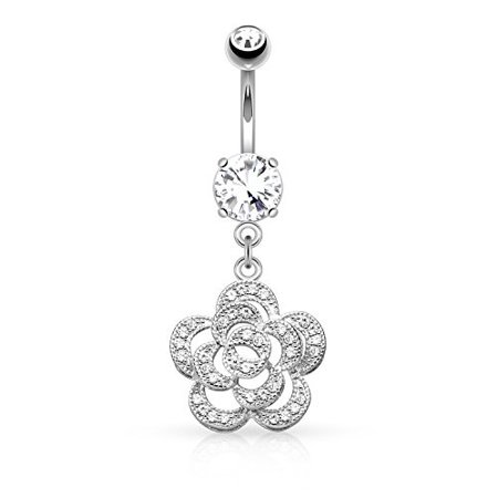 BodyJ4You Belly Button Ring Petals Camellia Flower Fancy Navel Ring with Flower CZ