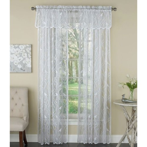 Songbird White Lace Curtain Panel