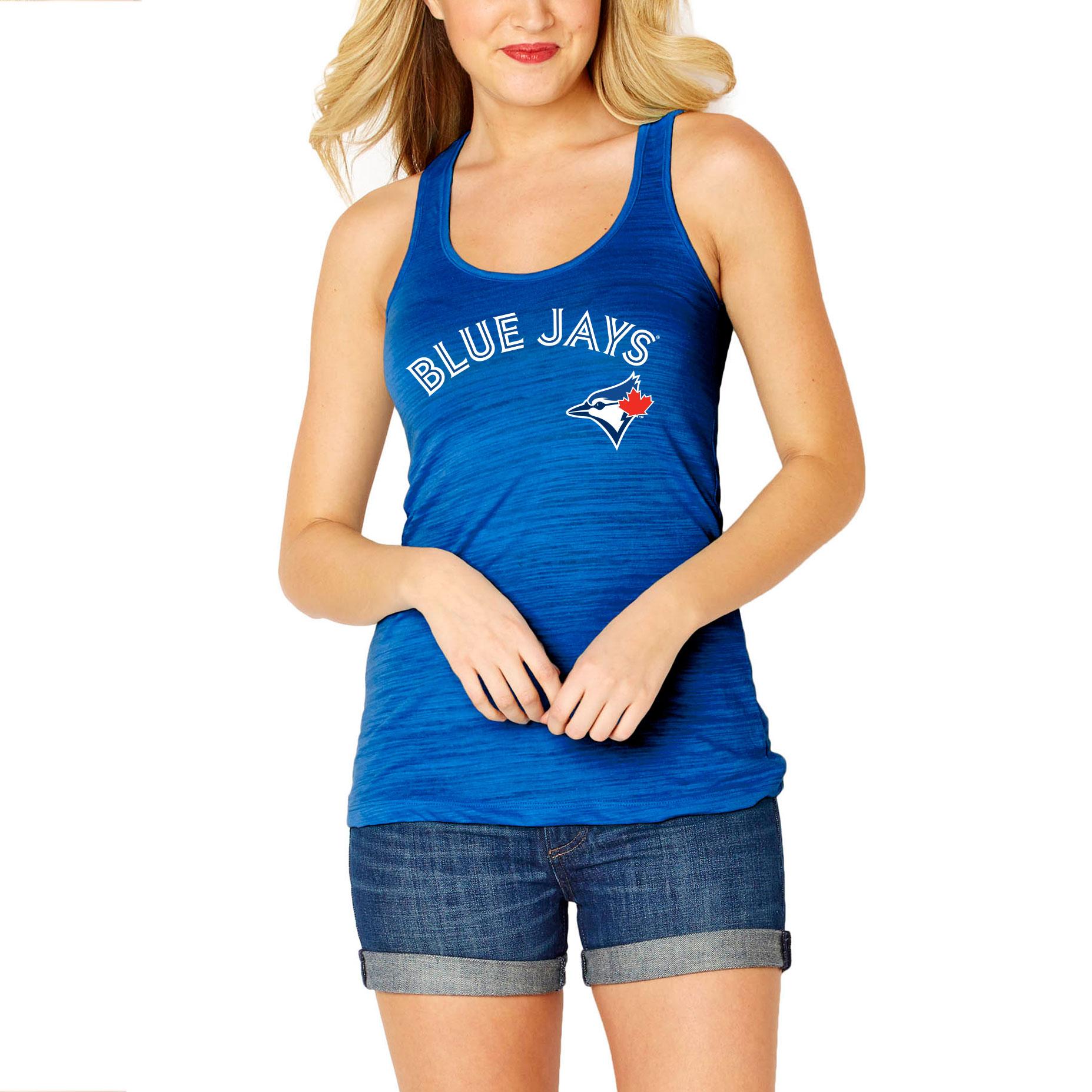 Toronto Blue Jays Soft As A Grape Women's Front & Back Tri-Blend Racerback Tank Top - Royal