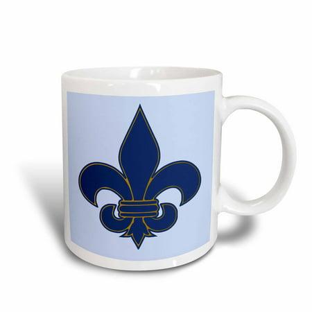 3dRose Large Navy Blue and Gold Fleur de lis Christian Saints Symbol, Ceramic Mug, 11-ounce - Fleur De Lys Ceramic