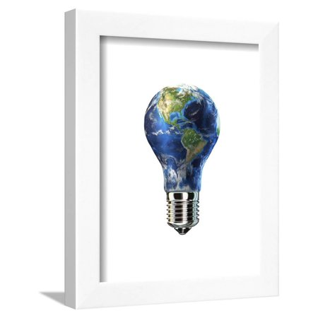Light Bulb with Planet Earth Inside Glass, Americas View Framed Print Wall Art