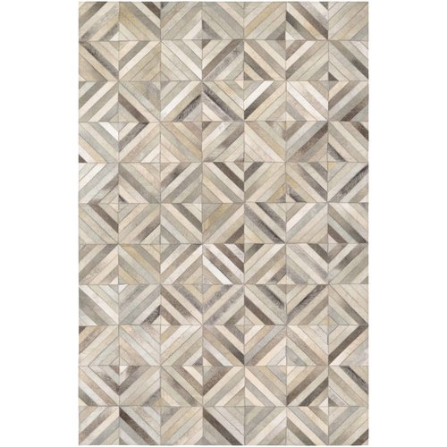Williston Forge Easthampton Hand-Woven Ivory Cowhide Leather Area Rug
