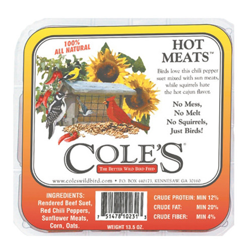 COLES WILD BIRD PRODUCTS INC HMSU 12OZ Hot Meats Suet