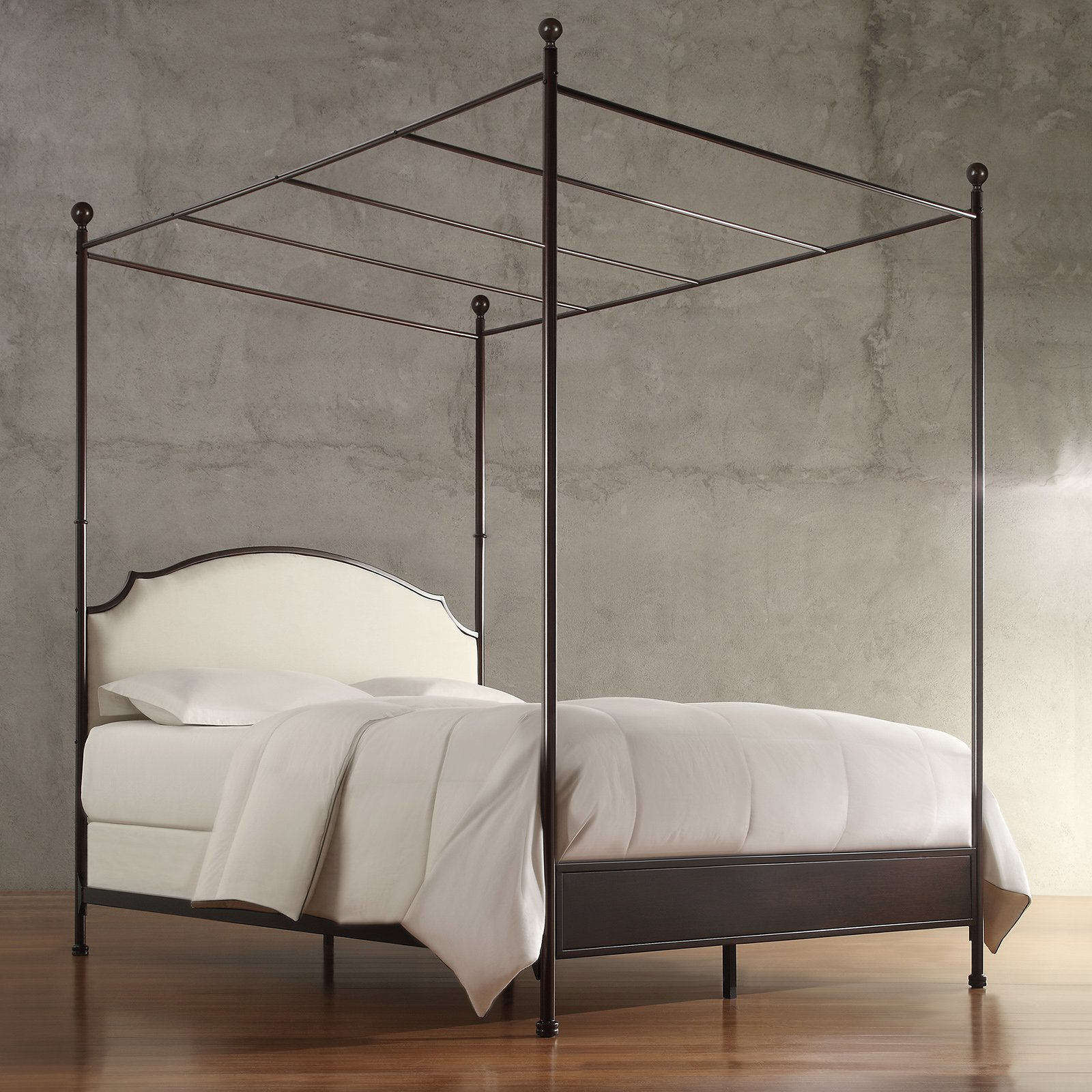 Weston Home Swindon Upholstered Metal Canopy Bed