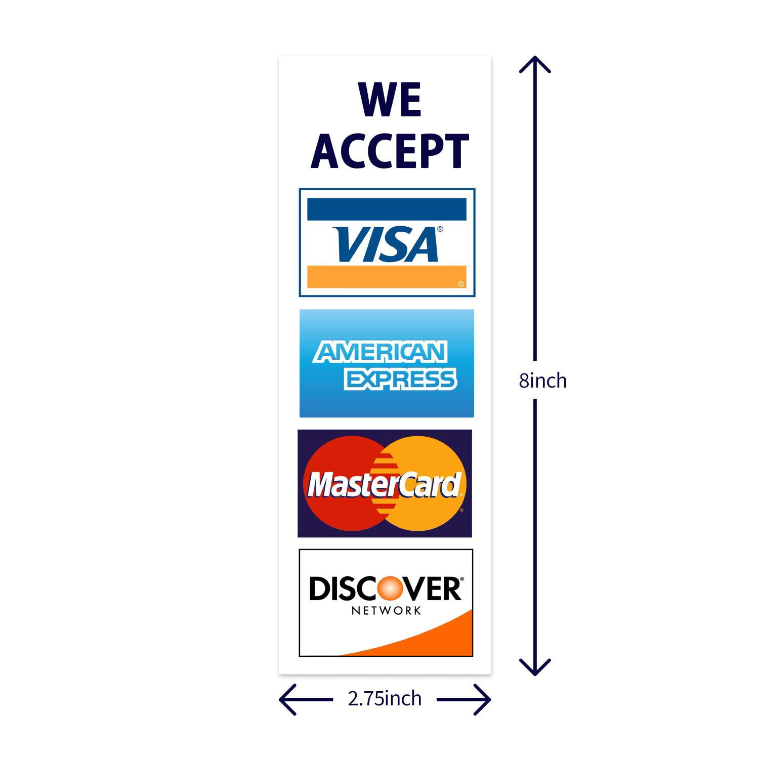 """We Accept Credit Cards AmEx Visa MasterCard Discover Decals Sticker Logo  Sign for Stores & Businesses (6.6"""" x 6"""")"""