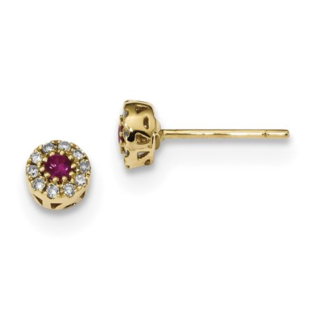 14k Yellow Gold Diamond Red Ruby Post Stud Earrings Ball Button Birthstone July Gemstone Fancy Gifts For Women For - White Gold Diamond Ball