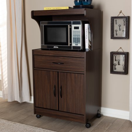 Baxton Studio Tannis Modern and Contemporary Dark Walnut Finished Kitchen Cabinet ()