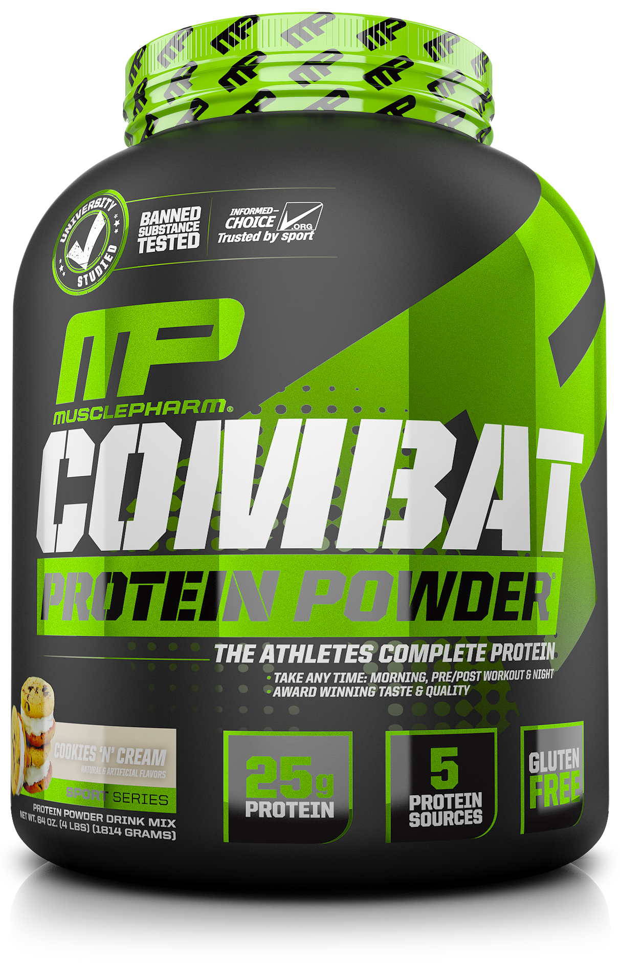 MusclePharm Combat Protein Powder, Cookies & Cream, 25g Protein, 4 Lb