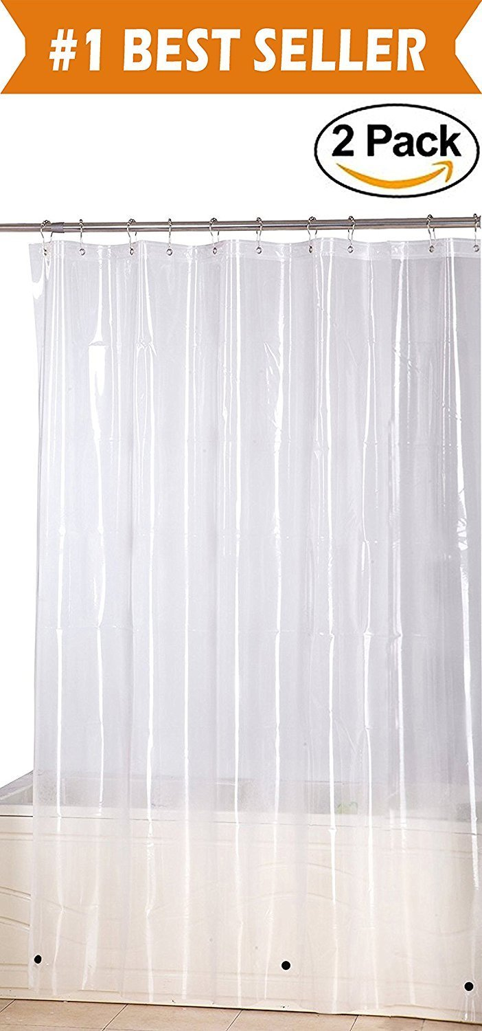Elegant Comfort Water Repellent Antibacterial And Mildew Resistant Heavy Weight Waterproof Clear Shower Curtain Liner 72 X 72inch
