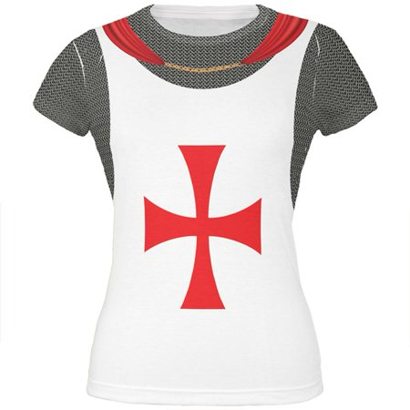 Halloween Knights Templar Armor Costume All Over Juniors T Shirt (Ladies Halloween Costumes 30 And Over)