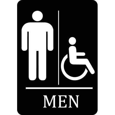 Mens Bathroom Handicap Accessible Black Sign Men