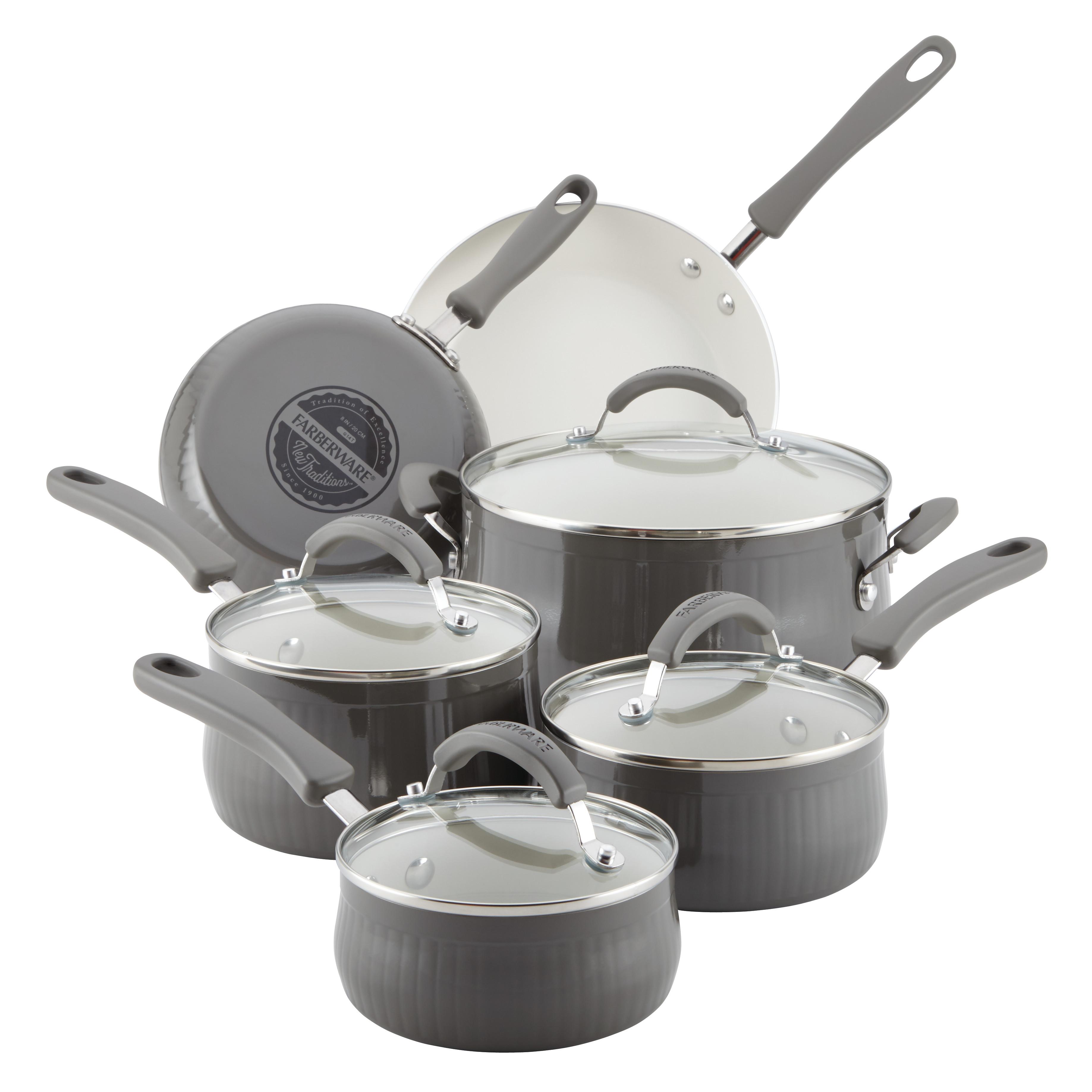 Farberware New Traditions Aluminum Nonstick 10-Piece Cookware Set, Gray