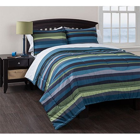 American Original Blue Pacific Stripe Reversible Complete Bedding Set, Green Bed in a Bag
