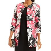 Kasper NEW Pink Black White Floral Print Women's Size 8 Career Jacket