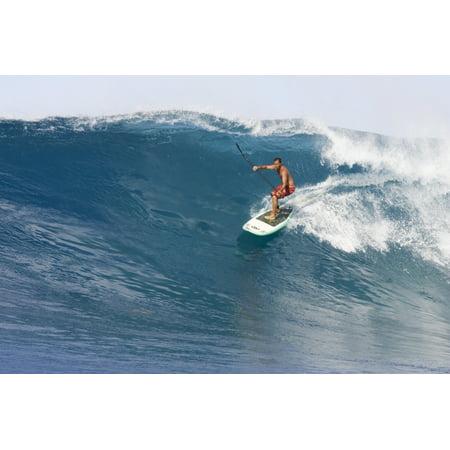 Hawaii Oahu Makaha Brian Keaulana Paddle Surfing A Big Wave Canvas Art   Joss Descoteaux  Design Pics  17 X 11