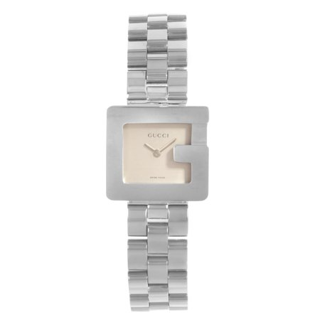 - Pre-Owned Gucci 3600L Square Face Silver Dial Steel Quartz Ladies Watch YA036504