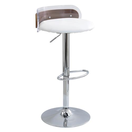 Lumisource Arc Contemporary Acrylic and Walnut Wood Adjustable Bar Stool by Overstock