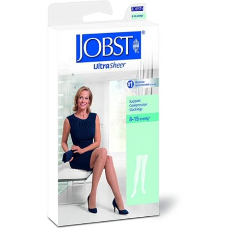 Jobst Classic Stockings - JOBST Ultra Sheer 8-15mmHg Support Compression Stockings Thigh High, Black, Medium, 1 Pair