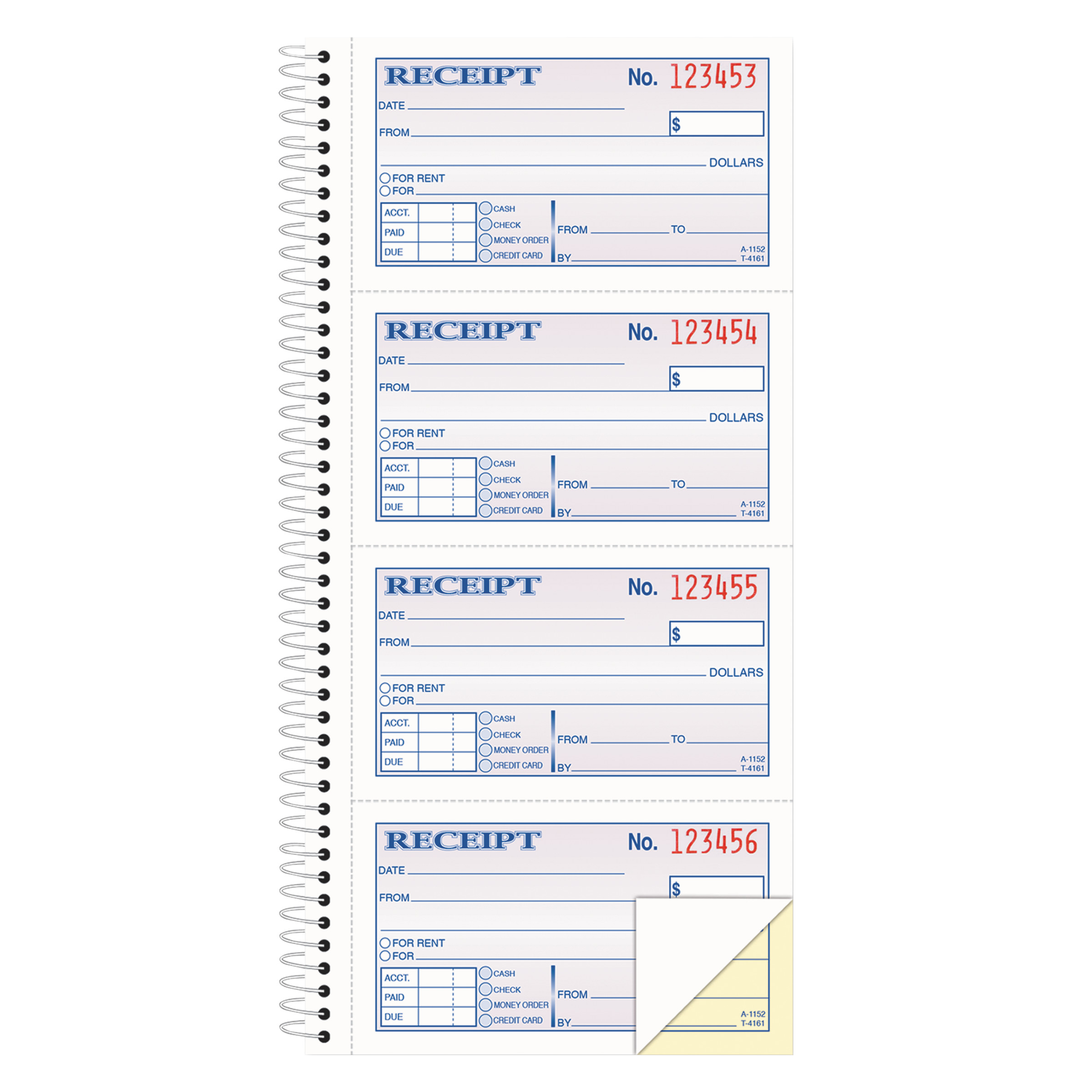 Adams TwoPart Rent Receipt Book   X   Carbonless