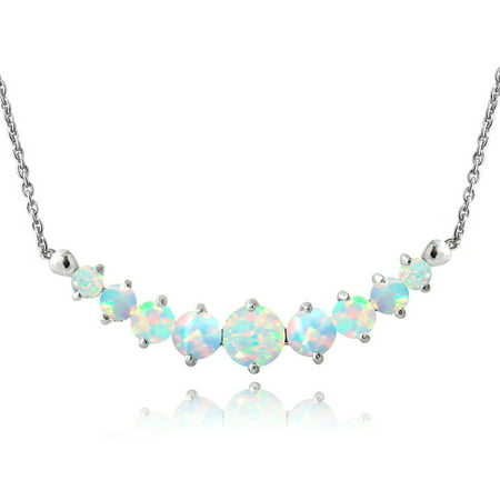 Created Opal Sterling Silver Graduated - Oversized Necklace