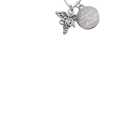 Silvertone Caduceus - CNA Not All Angels Have Wings Some Wear Scrubs Engraved Necklace