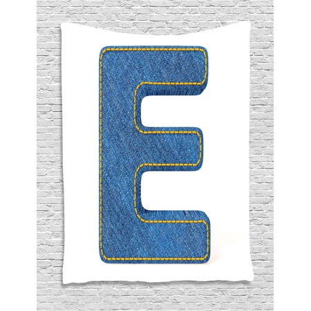 Letter E Tapestry Denim Blue Jeans Themed Symbol From Alphabet Abc Of Fabric Uppercase