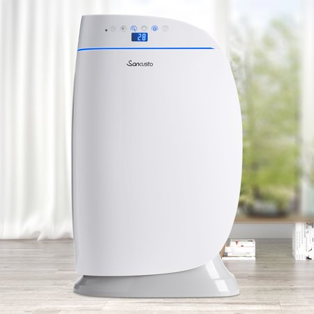 Sancusto Air Purifier with True Hepa Filter, Odor Allergies Eliminator for Smokers, Smoke, Dust, Mold, Home and Pets, Air Cleaner with Auto Night Light. Quiet, Up to 538