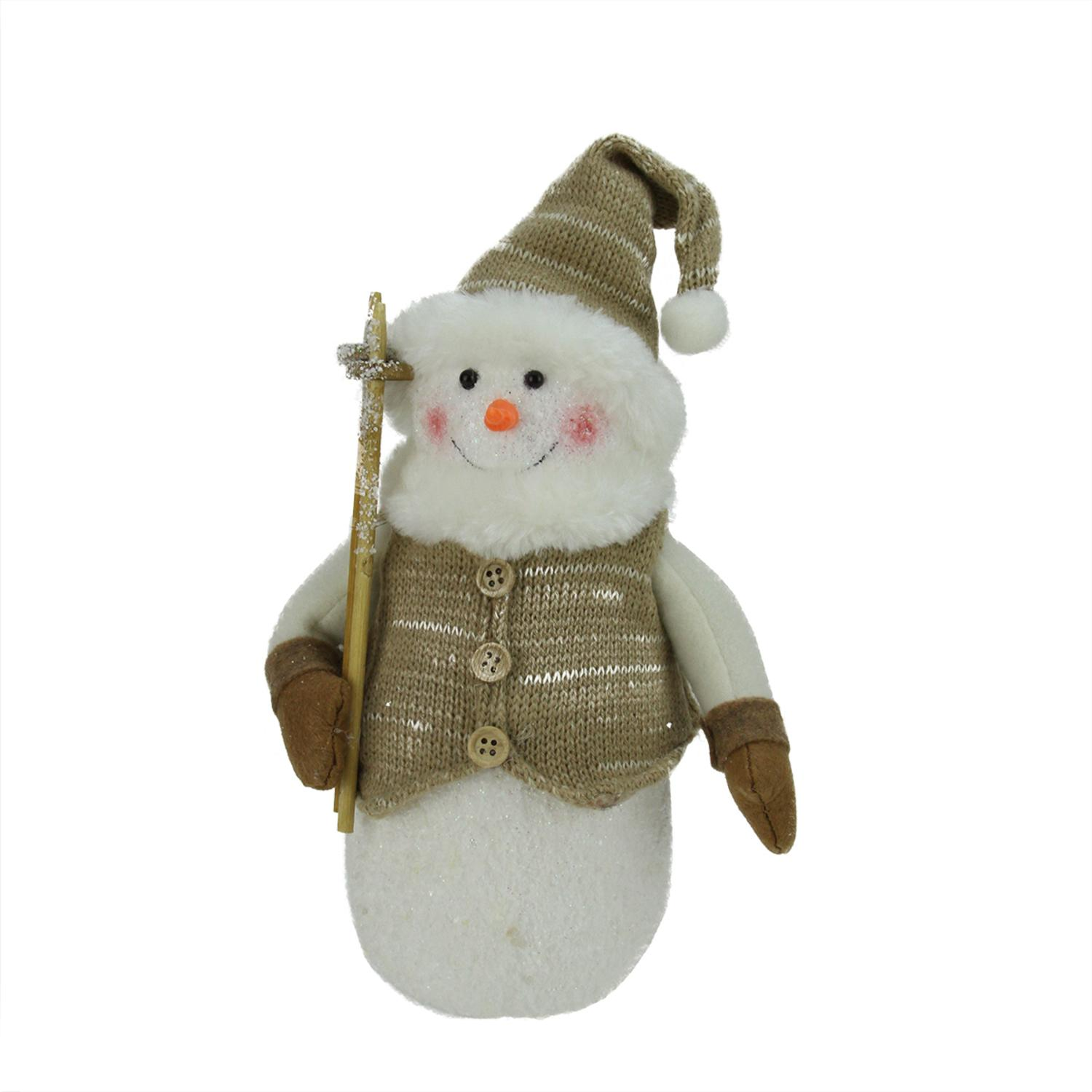 10 alpine chic brown and beige snowman with ski poles and mistletoe christmas decoration