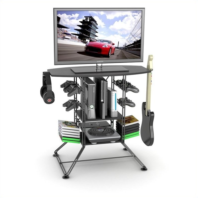Atlantic Centipede Black Gaming and TV Stand for TVs up to 37