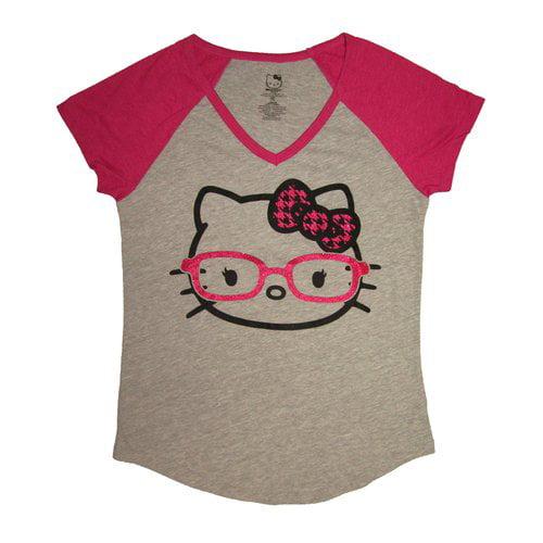Hello Kitty Juniors Cute Nerd Short-Sleeve Tee, Gray/Pink