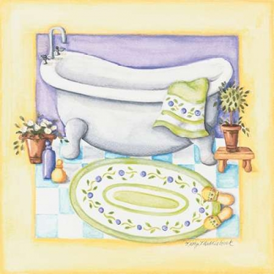 Yellow Bathroom Tub Stretched Canvas - Kathy Middlebrook (12 x 12)